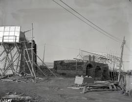 Escarp wall, left flank, construction of shed