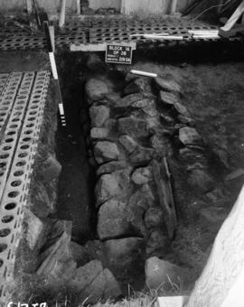 Detail of wall in Trench I, facing East