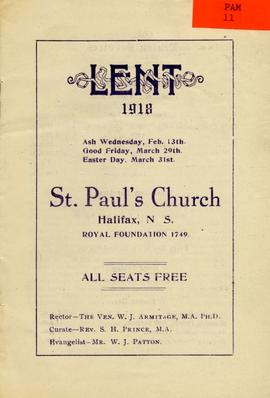 Lent 1918 St. Paul's Church Halifax N.S.
