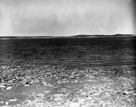 Panoramic view showing location of cribbing on shoreline