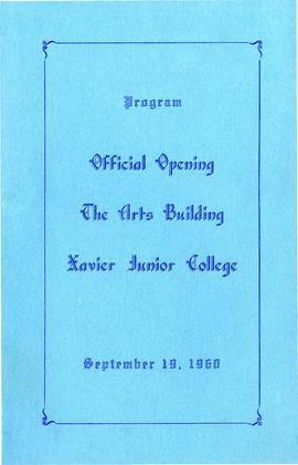 Program for the Offical Opening of The Arts Building
