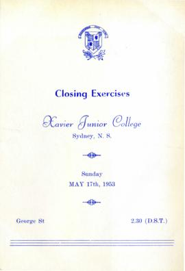 1953 Closing Exercises Program