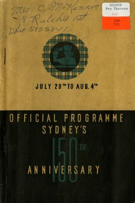 Sydney's 150th Anniversary July 29th to Aug. 4th 1935: Official Souvenir Program