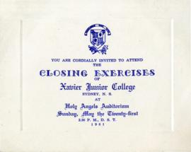 Invitation and Program of the 1961 Closing Excersies for Xavier Junior College