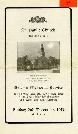 Solemn memorial service for all who have laid down their lives in the Great War for the cause of ...