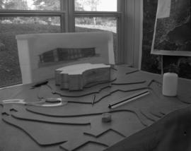 Model of proposed reception center (building)