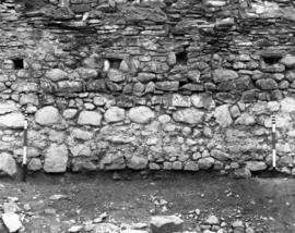 Partition wall detail of mortar of Casemate L4, facing East