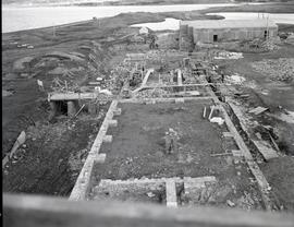 Bucket aerial shot, South half Chateau reconstruction, looking towards North half Chateau, facing...