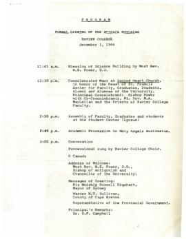 Program for the Offical Opening of the Science Building
