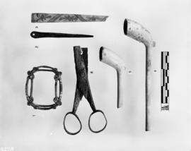 Buckle, needles, fans, iron scissors, T.D. pipes, pipes