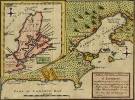 A Plan of the City and Harbour of Louisburg with inset map of The Island of  Cape Breton