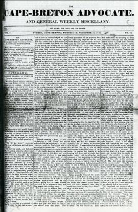 The Cape Breton Advocate November 18, 1840