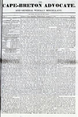The Cape Breton Advocate March 17, 1841
