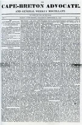 The Cape Breton Advocate September 30, 1840