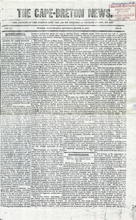 The Cape Breton News March 27, 1852