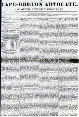 The Cape Breton Advocate January 20, 1841
