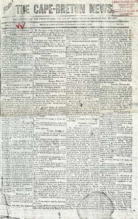 The Cape Breton News March 1, 1851