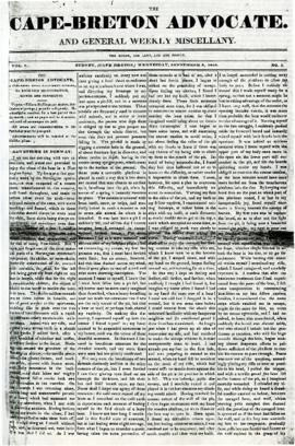 The Cape Breton Advocate September 9, 1840
