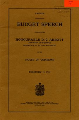Budget speech delivered by Honourable D.C. Abbott, Minister of Finance, Member for St. Antoine-We...