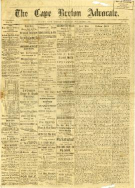 The Cape Breton Advocate November 3, 1882